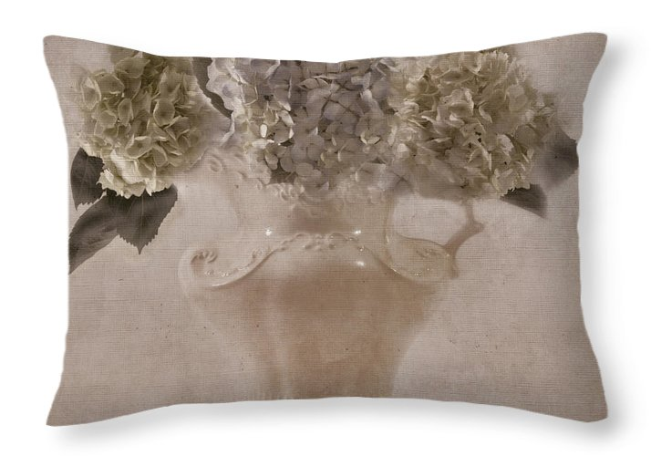 Hydrangeas In Cream Pitcher Throw Pillow For Sale By