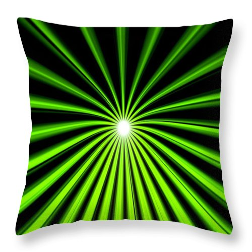 Hyperspace Throw Pillow featuring the painting Hyperspace Electric Green Portrait by Pet Serrano
