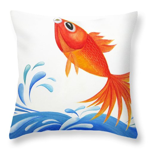 Whimsical Throw Pillow featuring the painting I Am Back by Oiyee At Oystudio