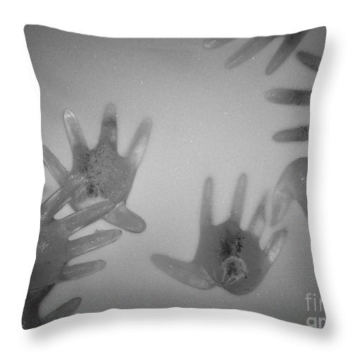 Ice Sculpture Hands Snow Throw Pillow featuring the photograph White Out by Kristine Nora
