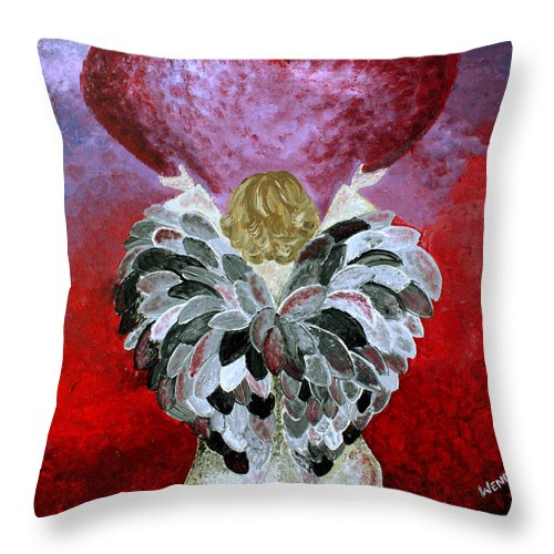 Angel Throw Pillow featuring the painting I Am Here by Wendy May
