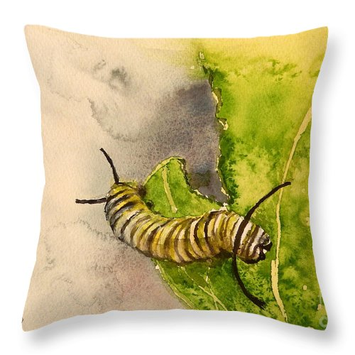 Insect Throw Pillow featuring the painting I Am Very Hungry - Monarch Caterpillar by Yoshiko Mishina