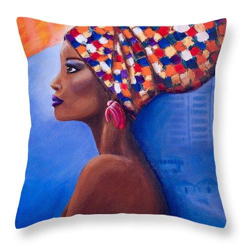 Woman Throw Pillow featuring the painting I Am Woman by CheryLynn Ferrari