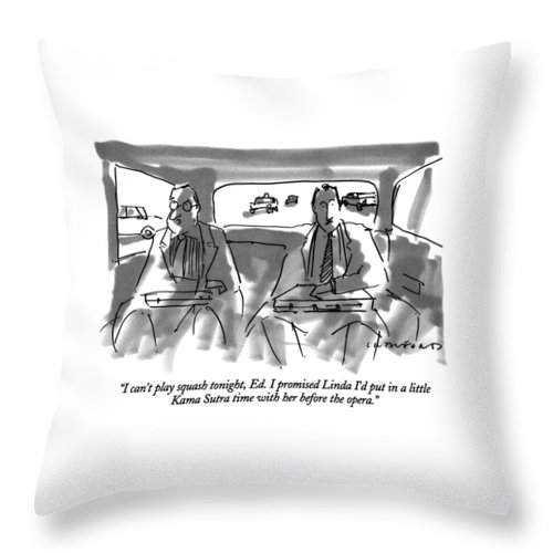 One Businessman To Another In The Backseat Of A Car. Marriage Throw Pillow featuring the drawing I Can't Play Squash Tonight by Michael Crawford
