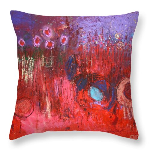Abstract Throw Pillow featuring the painting I Dream Of Flowers by Venus