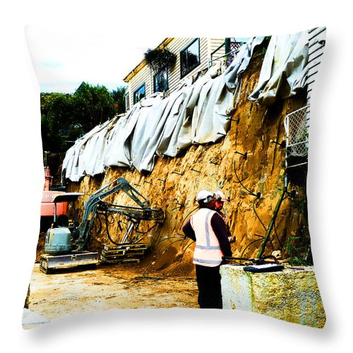 Reinforcement Throw Pillow featuring the photograph I Have Lit The Fuse What Is Next by Steve Taylor