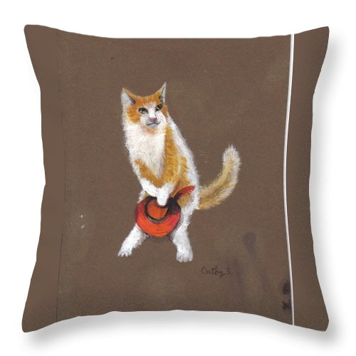 Cats Throw Pillow featuring the painting I Have To Use The Box by Catherine Swerediuk