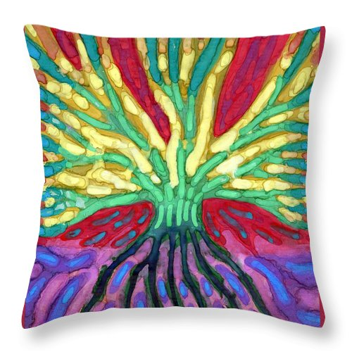 Colour Throw Pillow featuring the painting I Have Wing by Wojtek Kowalski