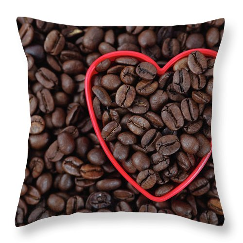 Crockery Throw Pillow featuring the photograph I Love Coffee by Ekaterina79