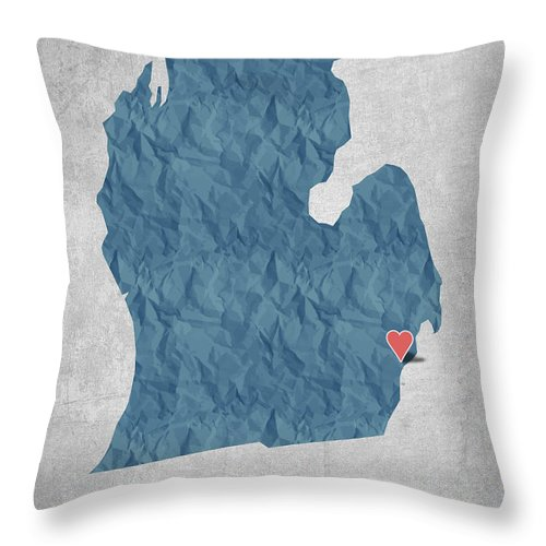 Detroit Throw Pillow featuring the digital art I Love Detroit Michigan - Blue by Aged Pixel