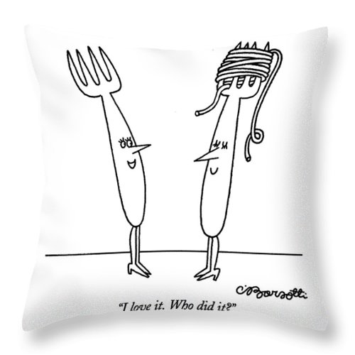 Women Throw Pillow featuring the drawing I Love It. Who Did It? by Charles Barsotti