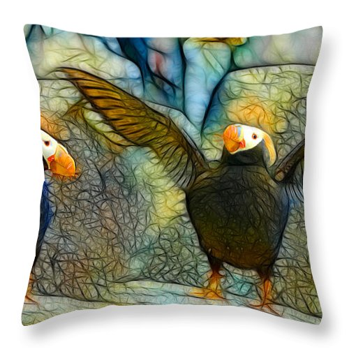 Digital Batik Throw Pillow featuring the painting I Love So Much by Francine Dufour Jones