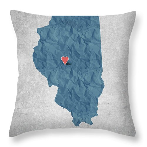 Springfield Throw Pillow featuring the digital art I Love Springfield Illinois - Blue by Aged Pixel