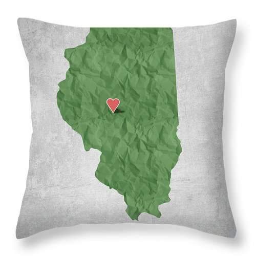 Springfield Throw Pillow featuring the digital art I Love Springfield Illinois - Green by Aged Pixel