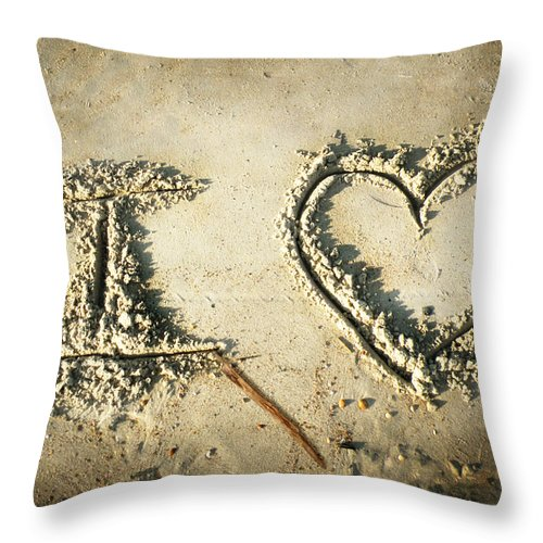 Beach Photography Throw Pillow featuring the photograph I Love by Steven Michael
