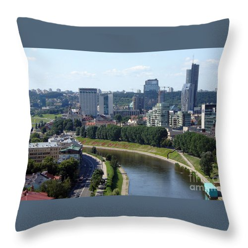 Vilnius Throw Pillow featuring the photograph I Love You. Vilnius. Lithuania by Ausra Huntington nee Paulauskaite