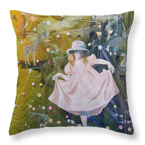 Girl Throw Pillow featuring the painting I Met A Giraffe by Jackie Mueller-Jones