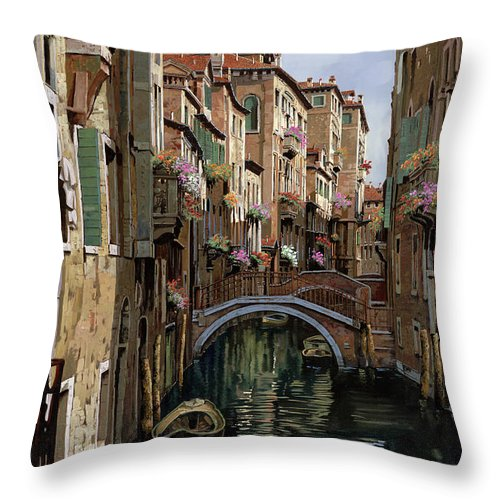 Venice Throw Pillow featuring the painting I Ponti A Venezia by Guido Borelli