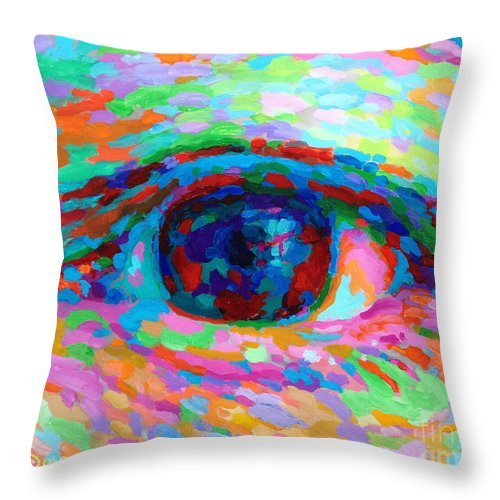 Eye Throw Pillow featuring the painting I See You by David Friedman