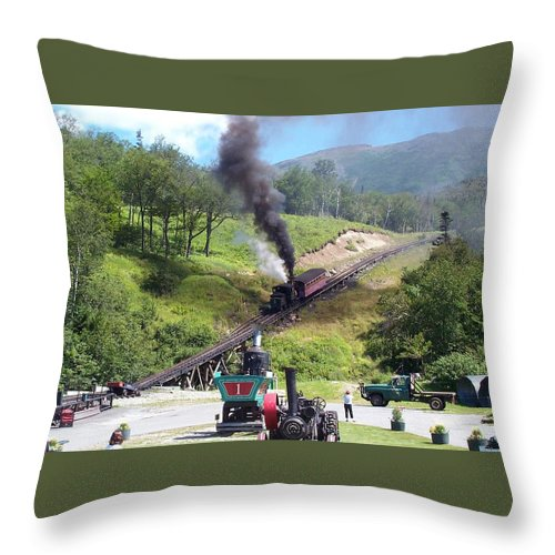 Cog Railroad Throw Pillow featuring the photograph I Think I Can by Barbara McDevitt