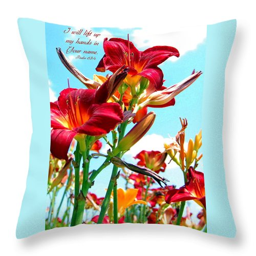 Flowers Throw Pillow featuring the photograph I Will Lift My Hands by Kim Blaylock