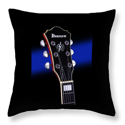 Guitar Throw Pillow featuring the photograph Ibanez Af75 Electric Hollowbody Guitar Headstock by John Cardamone