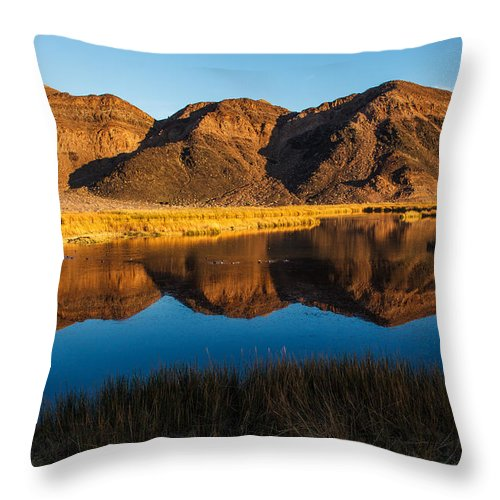 Jmp Photography Throw Pillow featuring the photograph Ibex Hills Reflection by James Marvin Phelps