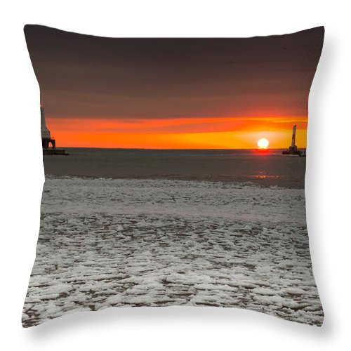 Sunrise Throw Pillow featuring the photograph Ice And Ribbons by James Meyer