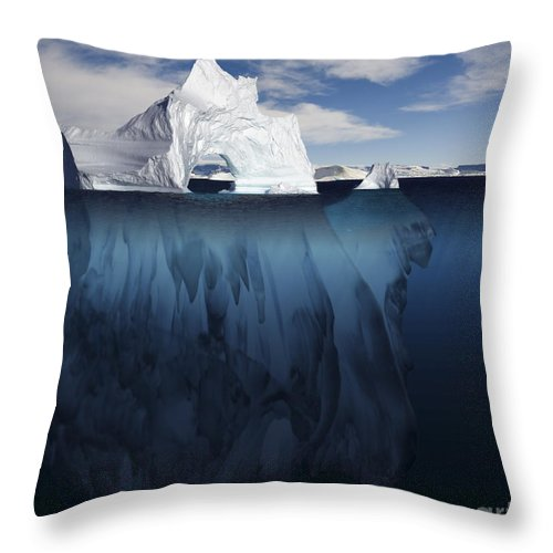 Antarctic Throw Pillow featuring the photograph Ice Arch Iceberg by Bryan and Cherry Alexander