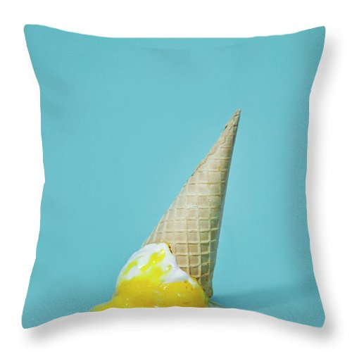 Melting Throw Pillow featuring the photograph Ice Cream by All Kind Of Things In Photo