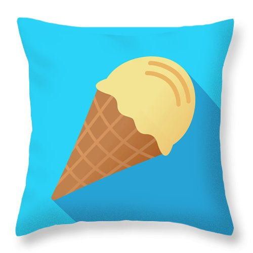 Melting Throw Pillow featuring the digital art Ice Cream Cone Icon Flat by Jakeolimb