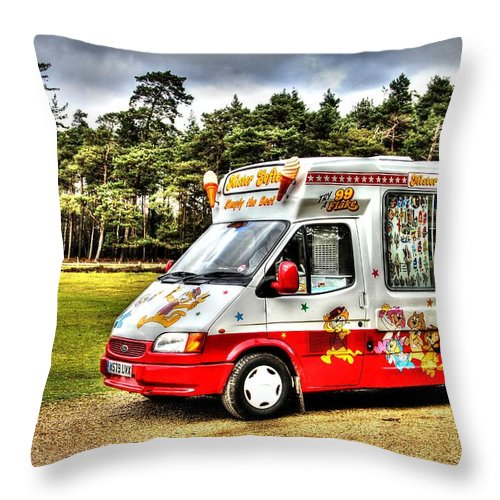 Ice Cream Throw Pillow featuring the photograph Ice Cream in the New Forest by Peggy Berger