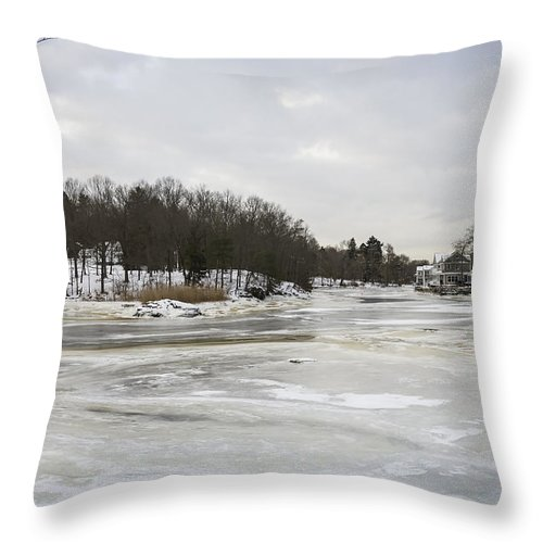 Ice Throw Pillow featuring the photograph Ice On The Ipswich River by David Stone