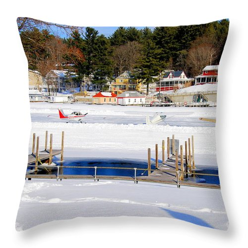 Planes Throw Pillow featuring the photograph Planes On The Ice Runway In New Hampshire by Eunice Miller