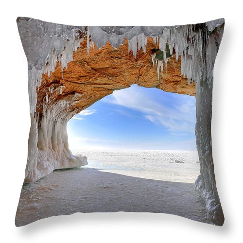 Wisconsin Throw Pillow featuring the photograph Ice Tunnel by Bryan Benson