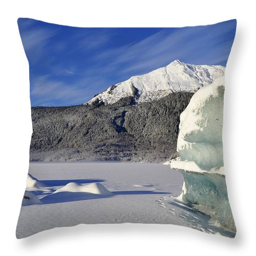 Iceberg Throw Pillow featuring the photograph Iceberg And Mount Mcginnis by Cathy Mahnke