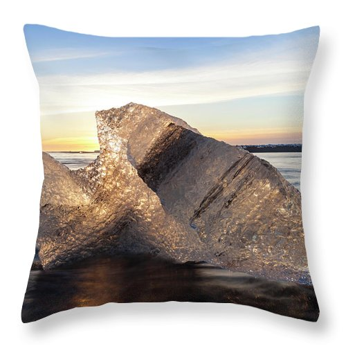 Scenics Throw Pillow featuring the photograph Iceberg In Sea By Jokulsarlon Glacier by Peter Adams