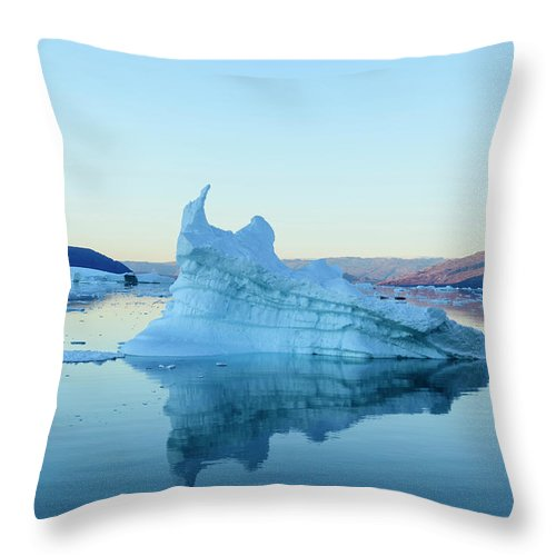 Scenics Throw Pillow featuring the photograph Iceberg In The Scoresby Sund by Berthold Trenkel