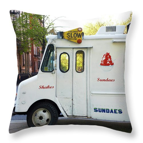 Retail Throw Pillow featuring the photograph Icecream Truck On City Street by Jason Todd