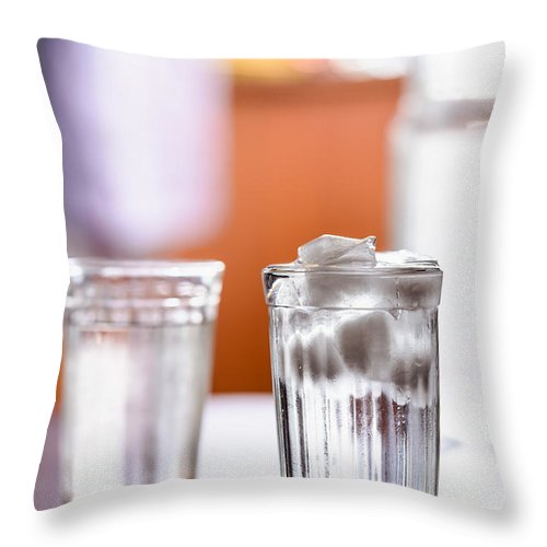Background Throw Pillow featuring the photograph Iced Water by Alain De Maximy