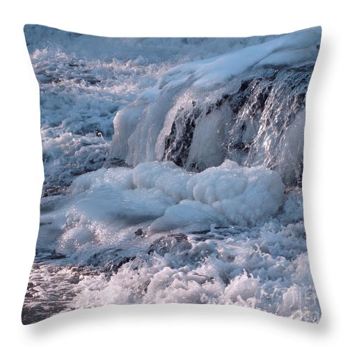 Winter Throw Pillow featuring the photograph Iced Water by Ann Horn