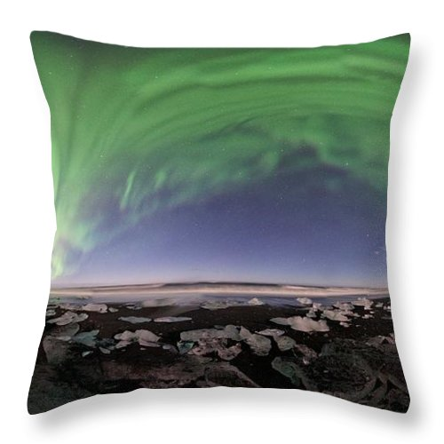 All Rights Reserved Throw Pillow featuring the photograph Iceland Aurora Beach Panorama by Mike Berenson