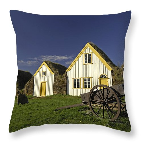 Home Throw Pillow featuring the photograph Icelandic Turf Houses by Claudio Bacinello