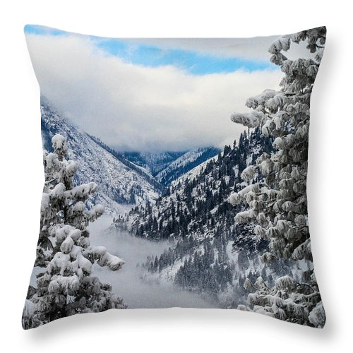 Icicle Throw Pillow featuring the photograph Icicle Creek by SnapHound