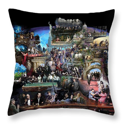 Icones Of History And Entertainment Throw Pillow featuring the mixed media Icons Of History And Entertainment by Ylli Haruni