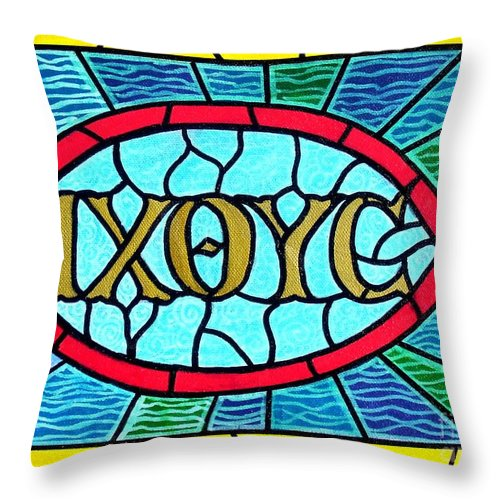 Church Throw Pillow featuring the painting Icthus Sign Of The Fish by Jim Harris