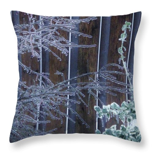 Ice Throw Pillow featuring the photograph Icy Verticles by Ian MacDonald