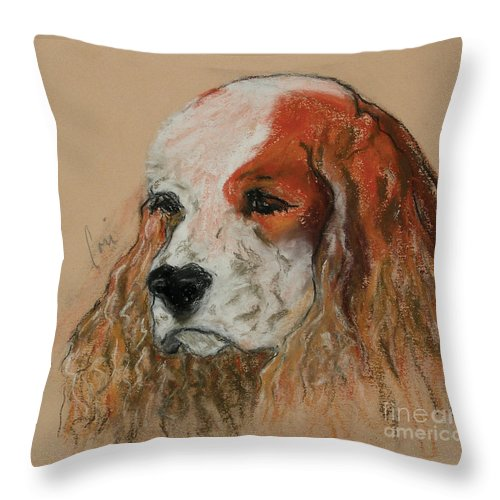 Dog Throw Pillow featuring the pastel Idle Thoughts by Cori Solomon
