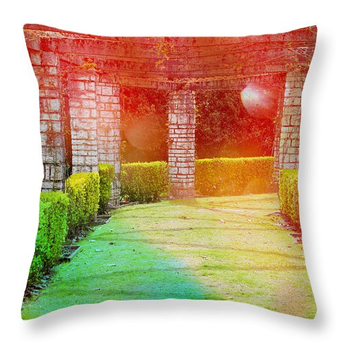 Garden Throw Pillow featuring the photograph Idyllic Rainbow Garden by Pati Photography