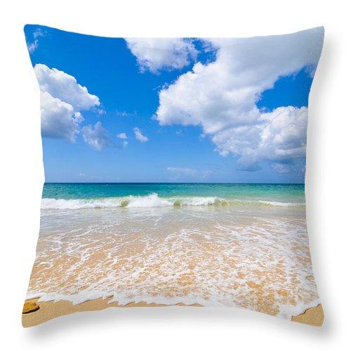 Beach Throw Pillow featuring the photograph Idyllic Summer Beach Algarve Portugal by Amanda Elwell